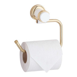 Renovators Supply - Toilet Paper Holder Brass/White Spectrum Tissue Holder 6 3/4'' W - Tissue Holder. The Spectrum Bath Collection features contrasting WHITE and BRASS accents. The flange is brass which is highlighted by the contrasting white accents.  This tissue holder takes a standard size toilet roll and measures 4 3/8 H x 6 3/4 W x 5 1/2 proj.