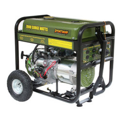 New Buffalo Corp. - Sportsman Series Gasoline 7000 Watt Generator - The Sportsman Series Gasoline 7000 Watt Portable Generator can power common major household appliances and power tools, and provide emergency power during blackouts. Equipped with four 120 volt outlets, a 12 volt DC outlet for battery charging, and a 120/240 volt outlet. Use this generator immediately with the recoil start or install a motorcycle battery (not included) to activate the electric start feature. With a 50% load this generator can run for 12 hours. A generator of this size is ideal for camping and running essential household appliances during power outages.