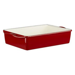 """Mario Batali Red Lasagna/Roaster - An """"Italian Cooking Essential"""" from famed chef and restaurateur Mario Batali, in exclusive red. Enameled cast iron pieces ensure exceptional heat retention and even heating without hot spots. Clean in the dishwasher, with Bar Keepers Friend or baking soda as described below."""