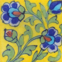 """Knobco - Tiles 3x3"""", Blue & Turquoise Flowers & Lime Green Leaf w/ Yellow - Blue and Turquoise Flowers and Lime Green Leaf with Yellow Base Tiles from Jaipur, India. Unique, hand painted tiles for your kitchen or other tiling project. Tile is 3x3"""" in size."""