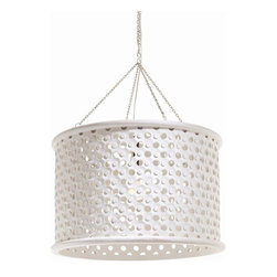Arteriors - Jarrod Pendant, Large, White - Transitional 1-light hand carved wooden drum shade pendant in whitewash finish with tiny perforations for detail and texture. Topped with an interior mirror border allowing light to disperse downward and through the holes across the surface of the shade.