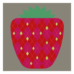 """Strawberry, Limited Edition, Hand Printed Work - """"When you've had a really long day at work, and the last thing you want to do is cook and clean up after a big meal, and you're popping a frozen dinner in the microwave, you'll look up and see our hand-made, 6-color Strawberry print, and you'll smile, because Strawberry, one of four fruit prints inspired by classic, mid-century modern book covers and fabrics, knows how hard life can be, and won't judge you, not even a little.  Strawberry is a limited edition handmade screen print on heavy, titanium white archival paper. Each print is signed and numbered.  size: 16 x 20 inches/imperial 406 x 508 mm/metric  framing: Sits beautifully within the common frame sizes of (24 x 18 in or 61 x 45.7 cm)."""""""