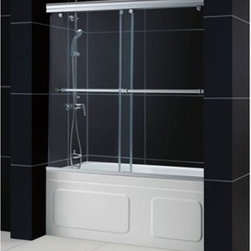 """Bath Authority DreamLine - Bath Authority DreamLine Charisma Bypass Sliding Tub Door (56""""-60"""") - The CHARISMA bypass sliding tub door brings innovation and style to your bathroom makeover. Most bypass shower doors have significant glass and wall frames. However, the CHARISMA """"no wall profile"""" door design allows each of the frameless shower doors to slide effortlessly on perfectly engineered rails. The frameless architecture of the CHARISMA tub doors gives the look of custom glass. Each tub door includes a convenient handle which doubles as a towel bar. The CHARISMA sliding tub doors are made of quality 5/16"""" thick clear tempered glass. The top and bottom guide rails of the sliding tub doors can be manually trimmed up to 4""""during installation. Bring a sleek and polished look your bathroom makeover with the CHARISMA frameless sliding bypass tub doors from DreamLine. Features Materials: Tempered Glass, Aluminum Guide Rails 2-panel sliding (bypass) tub doors Door opening: 25 - 29""""Stationary panel: 30-3/4""""""""No-wall profile"""" frameless design Two easy to reach towel bars/handles Tempered 5/16"""" (8mm) clear glass Available in chrome or brushed nickel finish Width may be trimmed up to 4"""" during installation Anodized aluminum guide rails Dimensions: Width: 56"""" - 60"""", Height: 58"""", Glass Thickness: 5/16"""" Technical Drawing Installation Manual View Spec Sheet"""