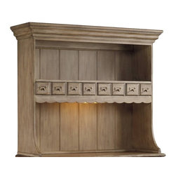 """Hooker Furniture - Primrose Hill Garden Grove Organizer Hutch - White glove, in-home delivery included!  Hutch only.  Pictured with Garden Grove Three-Drawer Counter Console, sold separately.  Turn-of-the-century charm combines with urban energy to create a timeless design of warmth and tradition.  Four drawers, shelf, light.  Bottom shelf opening: 41 1/4"""" w x 16"""" d x 16"""" h  Drawers: 8 1/2"""" w x 10"""" d x 2 1/2"""" h  Top shelf opening: 41 1/4"""" w x 12"""" d x 11 3/4"""" h"""