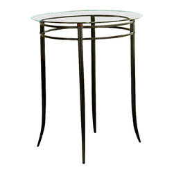 Hillsdale Furniture - Mix-N-Match Metal Frame Bar Table w Round Gla - Pair with Circe chairs for added function and appeal. Have a restaurant style dinner for two atop this striking pub table. Glass top gives a birds-eye view of the small cubby underneath for a plant, art, coffee table books or more. This table is the perfect size to place in even the coziest spaces. Its round metal frame has a decorative semi-circular support at the base, and it holds up a round glass top with beveled edges. * For residential use. Stools sold separately. Round metal frame. Semi-circular support base. Round glass top with beveled edges. Black finish. 34 in. Dia. x 40.5 in. H