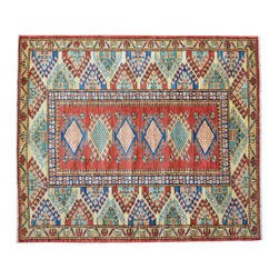 Area Rug, Red High Quality Kazak Hand Knotted 3'X4' 100% Wool Rug SH11875 - This collections consists of well known classical southwestern designs like Kazaks, Serapis, Herizs, Mamluks, Kilims, and Bokaras. These tribal motifs are very popular down in the South and especially out west.