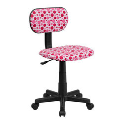 Flash Furniture - Flash Furniture Pink Dot Printed Computer Chair in White - Flash Furniture - Office Chairs - BTDPKGG - This attractive design printed office chair will liven up your classroom dorm room home office or child's bedroom. If you're ready to step out of the ordinary then this computer chair is for you!