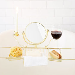 Ultimate Bathtub Caddy w/Book Rack, Wine & Candle Holders Mirror (Brass Finish) - A must have for anyone who wants to experience the luxury of the ultimate bath. Bathe in candlelight while sipping your favorite beverage while you either read or complete your facial care. Besides all the pampering, the caddy helps organize your tub and provides easy access and storage for bath products and accessories. Also, because of its open construction, bath items are able to dry easily between uses.  Vinyl coated arms are adjustable to fit standard size bathtubs 24 in to 34 in wide.