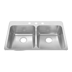 American Standard - Three Hole Stainless Steel Topmount 33.38 in x 22 in Double Bowl Kitchen Sink - American Standard 15DB.332283.073 Three Hole Stainless Steel Topmount 33.38 inch x 22 inch Double Bowl Kitchen Sink in Brushed Stainless Steel.