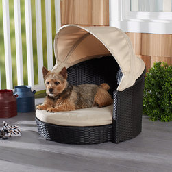 Frontgate - Arbor Canopy Pet Bed Dog Bed - Crafted of all weather fabric. Durable, hand-woven faux rattan. Premium quality powdercoated aluminum frame. Easy up/easy down canopy provides perfect built-in shade for your pup. Spot clean. Protect your pet from the sun and harsh UV rays with the Arbor Canopy Bed. Combining fashion with function, this durable faux rattan bed provides resort-style luxury for your favorite furry friend.  .  .  .  .  .