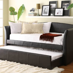 Homelegance 4956PU Meyer Dark Brown Finish Bi-Cast Daybed with Trundle -