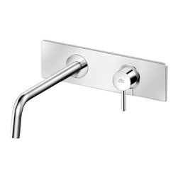 WS Bath Collections - Stick Wall Mounted Bathroom Faucet - Stick by WS Bath Collections, Wall-Mounted Bathroom Faucet, Available in Polished Chrome, Mat Chrome, or Stainless Steel Finish, Made in Italy, Wall-Mounted Concealed Bathroom Faucet Available in Polished Chrome, Mat Chrome, or Stainless Steel Finish Solid Brass Base, Wall-Mounted Installation Single Lever Controls Flow Rate and Temperature Rough-in Valves Included Includes Wall Spout, Aerator and Rectangular Wall Plate, Made in Italy