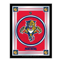 """Holland Bar Stool - Holland Bar Stool Florida Panthers Logo Mirror - Florida Panthers Logo Mirror belongs to NHL Collection by Holland Bar Stool The perfect way to show your team pride, our logo mirror displays your team's symbols with a style that fits any setting.  With it's simple but elegant design, colors burst through the 1/8"""" thick glass and are highlighted by the mirrored accents.  Framed with a black, 1 1/4 wrapped wood frame with saw tooth hangers, this 17""""(W) x 22""""(H) mirror is ideal for your office, garage, or any room of the house.  Whether purchasing as a gift for a recent grad, sports superfan, or for yourself, you can take satisfaction knowing you're buying a mirror that is proudly Made in the USA by Holland Bar Stool Company, Holland, MI.   Mirror (1)"""
