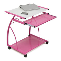 Calico Designs - Calico Designs L Computer Cart - Pink/White Printed Glass - 50105 - Shop for Carts and Stands from Hayneedle.com! Updating your decor and improving your workspace has never been easier than with the Studio Designs L Computer Cart - Pink/White Printed Glass. This sharp looking computer cart and table combination features powder coated steel and tempered safety glass that is going to look great for a bedroom dorm room or home. You will have plenty of room for reading and writing with the 23-inch by 18.75-inch work surface that is complemented by a separate 22.5-inch by 11-inch keyboard tray. About Studio Designs OfficeStudio Designs has 24 years of experience in the ready-to-assemble Arts and Crafts Furniture and Easel industry. They seek to inspire artists young and old through the simplicity and utility of their designs. They are based in Commerce California.