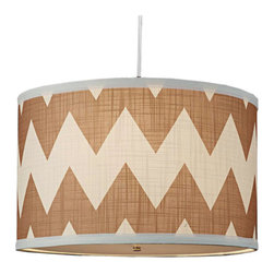 Chevron Drum Shade Pendant - Linen and chevron together is fabulous, enough said!