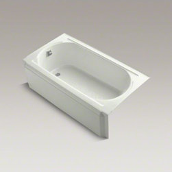 """KOHLER - KOHLER Memoirs(R) 60"""" x 34"""" alcove bath with left-hand drain - With rich detailing reminiscent of crown molding, Memoirs brings classic architectural style to your bathroom. The bath is constructed of durable cast iron with a slip-resistant bottom coating for many years of reliable use. Pair this timeless design with"""
