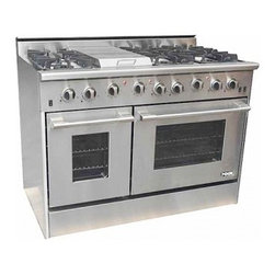 """NXR - DRGB4801LP 48"""" Gas Range with 6 Burners  Griddle  4.2 cu. ft. Main Oven Capacity - The NXR 48 Professional Style Gas Range is a high performance 6 burner range with griddle section that is ready to become the centerpiece of your gourmet kitchen Constructed of all stainless steel and equipped with six 15000 BTU sealed burners and tw..."""