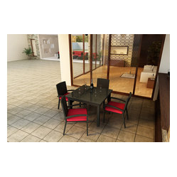Barbados 5-Piece Square Patio Dining Set, Ruby Cushions