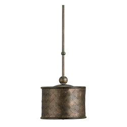Currey and Company - Currey and Company 9054 Veneta Traditional Pendant Light - This one light pendant is constructed of woven sheet metal bands, an unusual material for this purpose as well as one that requires a great deal of skill to weave. It comes with a swivel option for mounting on a slanted ceiling. This piece complements the 9965 Veneta Chandelier that also has woven metal shades. The finishes used are Old Iron and Cupertino