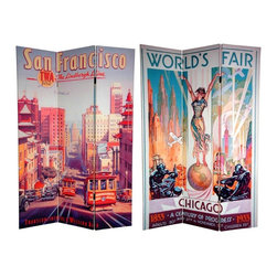 Oriental Furniture - 6 ft. Tall Double Sided San Francisco/Chicago Room Divider - Two bold and beautiful images emblazon the panels of this fine canvas room divider, as we continue our series of early 20th century art deco/art nouveau travel posters. The front is a poster announcing the 1933 World's Fair,  A Century of Progress , held in Chicago to commemorate 100 years of technological advancement in the  Windy City . On the back is a retro style travel poster highlighting San Francisco's iconic red cable cars that is contemporaneous in style, but is actually the work of acclaimed contemporary artist Kerne Erickson. These simple, attractive interior design elements will bring vintage panache to your living room, bedroom, dining room, or kitchen. This three panel screen has different images on each side, as shown.