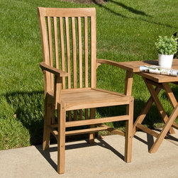 Balero Teak Arm Chair - Create an inviting backyard for your guests with this high back chair. Teak outdoor products are low maintenance and weather resistant; add other teak products to create your own unique patio set.
