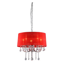 Warehouse of Tiffany - Eurynome Crystal Wine Red 5-light Chandelier - Add some elegance to your home with this Eurynome 5-light chandelier with rich wine red shade fabric. This dynamic lighting element features generous rows of cascading crystals to catch the shimmering light effect. Setting: IndoorFixture finish: Wine redMaterial: Metal, crystal, fabricSwitch: HardwiredNumber of lights: Five (5)Requires five (5) 40-watt bulbs (not included)Dimensions: 22 inches long x 18 inches wide x 15 inches highAssembly required.This fixture does need to be hard wired. Professional installation is recommended.Attention California Residents: This product contains Lead, a chemical known to the State of California to cause cancer and other reproductive harm.CSA Listed, ETL Listed, UL Listed