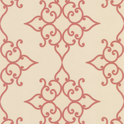 Decorline - Decadence Crèpe Moroccan Medallion Wallpaper - Add some wow to your walls! This exotic ,curvy pattern in rich red makes a glamorous backdrop for your decor — especially romantic for the bedroom.