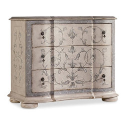 Hooker Furniture - Handpainted Chest - White glove, in-home delivery included!  The Handpainted Chest features three drawers with a beautiful scroll work handpainted decor.  Three drawers.