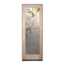 Sans Soucie Art Glass (door frame material T.M. Cobb) - Glass Front Entry Door Sans Soucie Art Glass Banana Leaves 2D - Sans Soucie Art Glass Front Door with Sandblast Etched Glass Design. Get the privacy you need without blocking the light, thru beautiful works of etched glass art by Sans Soucie!  This glass is semi-private.  (Photo is view from outside the home or building.)  Door material will be unfinished, ready for paint or stain.  Bronze Sill, Sweep and Hinges. Available in other sizes, swing directions and door materials.  Dual Pane Tempered Safety Glass.  Cleaning is the same as regular clear glass. Use glass cleaner and a soft cloth.