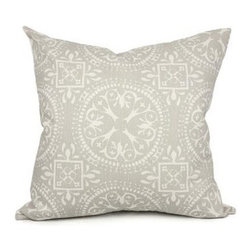 "Belle & June - Frances in Light Gray Decorative Throw Pillow - Give your space a cultured, romantic feel with this stunning designer decorative pillow. This unique pillow features a hand-printed original pattern and high quality feather down insert. Mix and match it with other pillows in this collection to create a stylish look on a couch or chaise. Dimensions: 22"" x 22"""