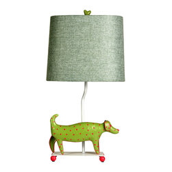 Stylecraft - Stylecraft L11085Ds Mini Iron Dog Lamp, (Green Dog, Green Shade) - Stylecraft L11085DS Mini Iron Dog Lamp, (Green Dog, Green Shade)