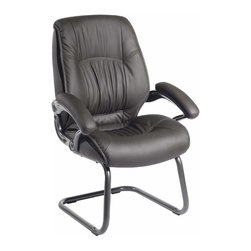 Techni Mobili - Techni Mobili Executive High Back Visitor Chair in Black - Executive High Back Visitor Chair in Black by Techni Mobli The Techni Mobili High Back Visitor Chair chair, a companion to the Executive High Back Chair, features double pillow cushioning on the seat and back along with padded armrests under Techniflex upholstery, a premium synthetic leather. The higher back provides great support while the scratch-resistant powder-coated steel base provides stability.  Office Chair (1)