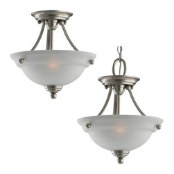 Seagull - Seagull Wheaton Bowl Pendant Light in Brushed Nickel - Shown in picture: 77625-962 Semi-Flush Convertible Fixture in Brushed Nickel finish with Satin Etched Glass