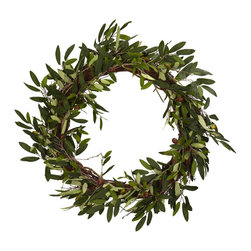 """Nearly Natural - Nearly Natural 20"""" Olive Wreath - Conjuring up images of old friends and close family, this striking Olive Wreath will help to set the mood for your next dinner event. Filled with beautiful and lush green leaves encompassing a perfect circle, this Olive Wreath will be a big hit as you serve up that favorite Italian or Greek meal, whetting your guests' appetites for not only for the food, but the wonderful surroundings."""