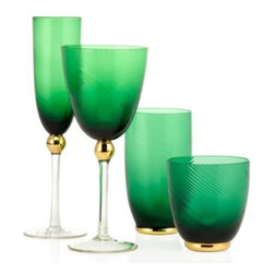 Z Gallerie - Emerald Glassware, Sets of 4 (by Type) - Glass flutes, highballs, goblets — pick your set of emerald glasses to clink, clink. I'd mix these bold and glamorous glasses with dishware in other colors like pink, mint and yellow.