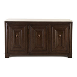 "Horchow - Lenore Credenza - DARK BROWN - Lenore CredenzaDetailsMade of select hardwoods and oak veneers.Top is travertine stone.Three doors two drawers nine cubby holes three shelves and cutouts in back for wire management.69""W x 19""D x 39""T.Imported.Boxed weight approximately 343 lbs. Please note that this item may require additional delivery and processing charges."