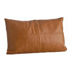 Arteriors - Arteriors Amarillo Camel Patchwork Leather Rectangle Pillow - LIMITED QUANTITIES - Amarillo Camel Patchwork Leather Rectangle Pillow with Slipcover/Hidden Zipper/Camel Linen Back Material: Leather