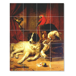 Picture-Tiles, LLC - Favorite Animals Of King Leopold I Tile Mural By Eugene Verboeckhoven - * MURAL SIZE: 40x32 inch tile mural using (20) 8x8 ceramic tiles-satin finish.