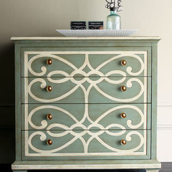 "Bethany Scrolls Chest - Hand-painted scrolls add interest and beauty to this ""Bethany Scrolls"" chest with a contrasting top.  Four drawers provide great storage.  This chest would be beautiful in a beach oriented decor or cottage style home.37""W x 18""D x 37.25""T"