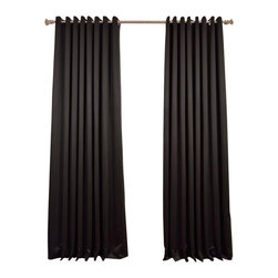 Exclusive Fabrics & Furnishings, LLC - Jet Black Grommet Doublewide Blackout Curtain - SOLD PER PANEL. 100% Polyester. Grommet. Unlined. Imported. Weighted Hem. Dry Clean Only.