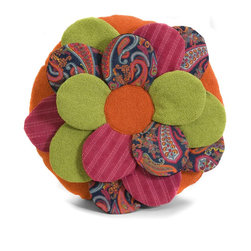 iMax - iMax Estelle Multi Fabric Flower Pillow X-05024 - Brightly colored, Flower shaped pillow, multi-fabric,