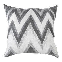 """Bandhini - Zig Zag Gray Medium Throw Pillow - This contemporary throw pillow pops with eye-catching allure. On natural cotton, embroidered linen shades of gray form a dazzling zigzag print. 18""""W x 18""""H; 100% linen and 100% raw cotton; Dry clean; Grey goose down fill insert included"""