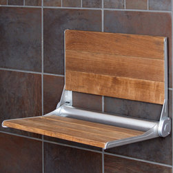 Teak Shower Seat with Backrest - This teak wood shower features a spring hinge that keeps the seat neatly folded on your shower wall until it is needed. With a matching seat and backrest of natural teak wood accented by anodized aluminum hardware, this shower seat is the easy choice for an upscale bath seat.