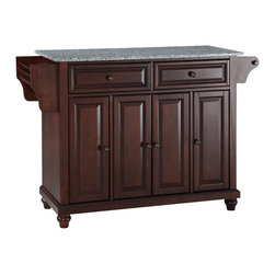 Crosley - Cambridge Solid Granite Top Kitchen Island in Vintage Mahogany Finish - Constructed of Solid Hardwood and wood veneers, this kitchen island is designed for longevity. The Beautiful raised panel doors and drawer fronts provide the ultimate in style to dress up your kitchen. Two deep drawers are great for anything from utensils to storage containers. Behind the four doors, you will find adjustable shelves and an abundance of storage space for things that you prefer to be out of sight. Style, function, and quality make this kitchen island a wise addition to your home.