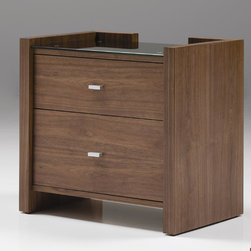 """Mobital - Diva 2 Drawer Nightstand - The Diva nightstand is solidly so you can rest easy when putting a glass of water down for the night. Features: -Diva collection.-Frame Material: HDF.-Solid Wood Construction: No.-Powder Coated Finish: No.-Gloss Finish: No.-Hand Rubbed Finish: No.-Number of Items Included: 1.-Non Toxic: Yes.-Scratch Resistant: Yes.-Drawers Included: Yes -Number of Drawers: 2.-Drawer Glide Material: Metal.-Drawer Glide Extension: 0.75"""" extension.-Soft Close or Self Close Drawer Glides : No.-Safety Stop: Yes.-Ball Bearing Glides: Yes.-Drawer Dividers: No.-Felt Lined Drawers: No.-Drawer Handle Design: 3"""" Metal pull..-Exterior Shelving: No.-Cabinets Included: No.-Top Material: Glass.-Top Finish (Finish: Merlot Stain on Walnut): White glass tempered.-Top Finish (Finish: Walnut): Black glass tempered.-Lighting Included: No.-Hardware Finish: Anodized aluminum.-Hidden Storage: No.-Interchangeable Panels: No.-Mirror Included: No.-Cable Management: No.-Built In Outlets: No.-Finished Back: Yes.-Distressed: No.-Collection: Diva.-Swatch Available: No.-Commercial Use: Yes.-Recycled Content: No.-Eco-Friendly: Yes.-Product Care: Damp cloth no harsh detergents.Specifications: -FSC Certified: No.-EPP Compliant: No.-CPSIA or CPSC Compliant: No.-CARB Compliant: Yes.-JPMA Certified: No.-ASTM Certified: No.-ISTA 3A Certified: Yes.-PEFC Certified: No.-General Conformity Certificate: No.-Green Guard Certified: No.Dimensions: -Overall Height - Top to Bottom: 23"""".-Overall Width - Side to Side: 24"""".-Overall Depth - Front to Back: 16"""".-Drawers: -Drawer Interior Height - Top to Bottom (Top) : 4"""" .-Drawer Interior Height - Top to Bottom (Bottom) : 7"""".-Drawer Interior Width - Side to Side: 18"""".-Drawer Interior Depth - Front to Back: 17""""..-Tabletop Thickness: 1"""".Assembly: -Assembly Required: No.-Additional Parts Required: No.Warranty: -Product Warranty: One year."""