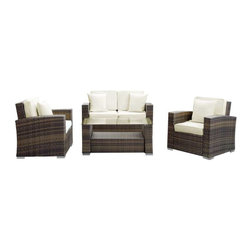 Modway - Carmel 4 Piece Sofa Set in Brown White - Sojourn to a conducive atmosphere of proper proportions with this sleek Carmel outdoor set. Vividly express yourself as you attune to your surroundings and develop positive rapport among friends and family. Appropriate times begin now with a modern touch of adventure.