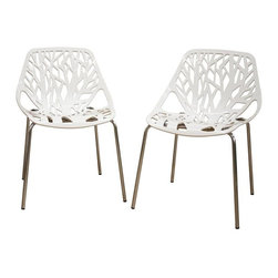 Wholesale Interiors - Birch Sapling White Plastic Accent / Dining Chair - Set of 2 - This chair lends a modern touch of the beauty of a white birch tree to your home. The intricate cut-out design is ideal around a minimalistic dining table or simply as a standalone chair in an entryway or extra room. It is constructed with a sturdy molded plastic seat atop a steel frame with a shiny silver chrome finish. Black non-marking feet finish off the chair. This chair is sold as a set of two, is stackable, and assembly is required.