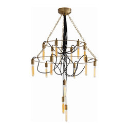 """Arteriors - Arteriors Home - Winston 15L Vintage Brass Black Fabric Cord Chandelier - 15-light chandelier combines double ring tier and chain in vintage brass finish with exposed black nylon fabric cording that ripples organically through the center of the fixture. Shown with large antique tubular bulbs. Features: Winston Collection Chandelier 15-light chandelierVintage Brass Shown with large antique tubular bulbsDouble Tier Some Assembly Required. Dimensions: H 52 1/2"""" x 34"""" Dia"""