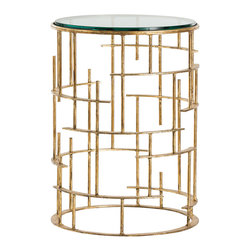 "Arteriors - Arteriors Electa Side Table - The striking Arteriors Electa side table dazzles with geometric delight. Beneath a chic glass surface, its golden iron base curves and intersects to form intoxicating style. 15"" Dia x 20.5""H; Gold leaf flat iron; Polished edge clear glass"