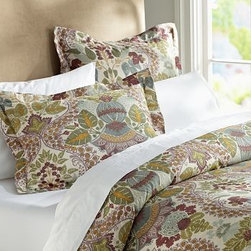 Victoria Duvet Cover, Twin - Our ornately patterned bedding evokes the intricate damask design that once adorned an 18th-century English silk fabric. Embellished with artfully symmetrical botanical motifs, each piece is rotary printed for exceptional depth of color across natural cotton/linen. Woven from a cotton/linen blend. Duvet cover and sham reverse to self. Duvet cover has a button closure; sham has a button closure. Duvet cover, sham and insert sold separately. Machine wash. Imported.